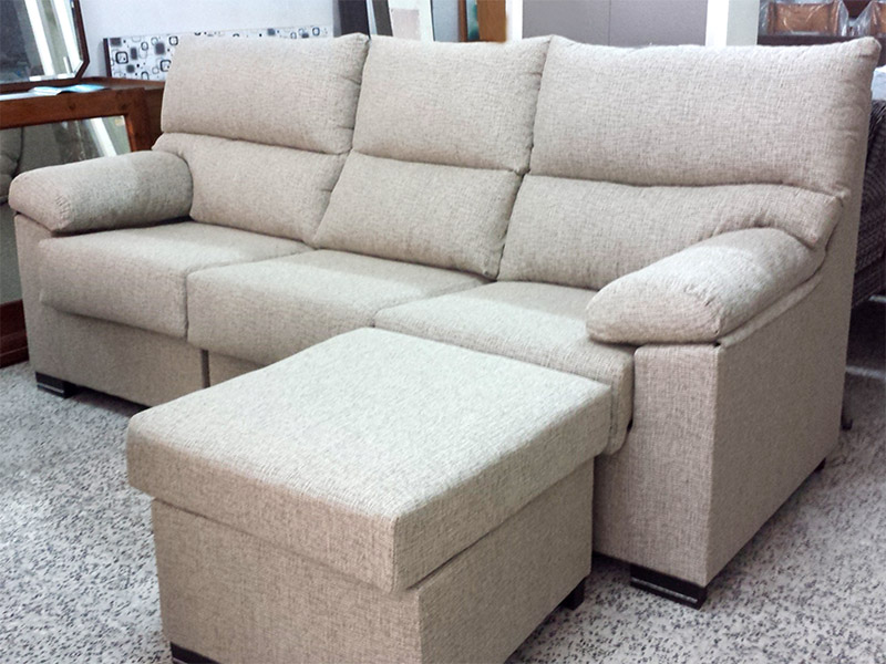 SOFA 3 PLAZAS + PUFF CHAISELONGE DESENFUNDABLE